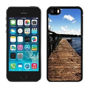 Fashionable Custom Designed iPhone 5C Phone Case With Lake Wharf Dock_Black Phone Case
