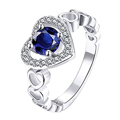 plus bas rabais volume grand divers styles Sasavie Bague Dame Taille 56 Forme Coeur Bleu Zircone ...