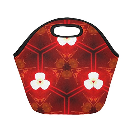 Insulated Neoprene Lunch Bag Red Lights Abstract Large Size Reusable Thermal Thick Lunch Tote Bags For Women,teens,girls,kids,baby,adults-lunch Boxes For Outdoors,work, Office, School