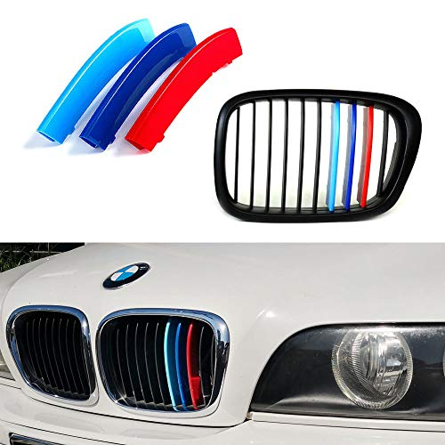 iJDMTOY Exact Fit ///M-Colored Grille Insert Trims For 1995-2003 BMW E39 5 Series Kidney Grille w/ 10-Beam