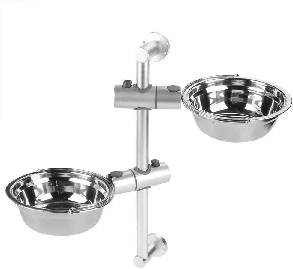 Yosoo Stainless Steel Dog Bowl,Wall-Mounted Adjustable Pet Water Food Bowl with Aluminum Alloy Stand