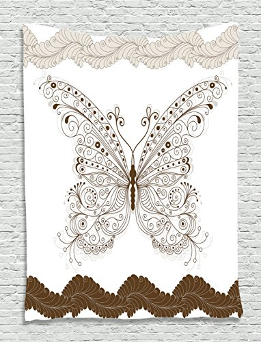 Paisley Butterfly Rug (Ambesonne Bohemian Tapestry Butterfly Decor, Shady Butterflies Wings Floral Paisley Feathers Rustic Fashion Style, Bedroom Living Room Dorm Wall Hanging Art, 40 W x 60 L inches, Sepia White)