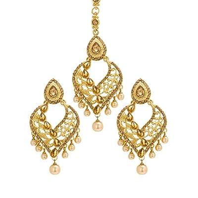 Bindhani Bridal Wedding Kundan Earrings And Tikka Set Indian Jewelry For Women big discount