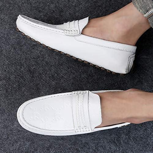 NA Conducteur Mocassin pour Homme Chaussure de Conduite Respirant Chaussures Mode Monk Casual Mocassins Chaussures Grande Taille White