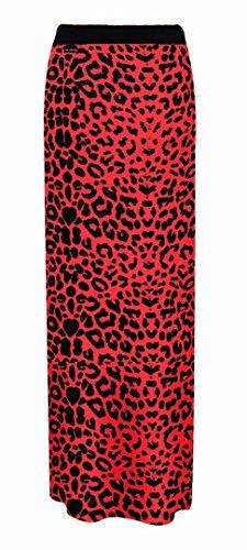 Longue Femmes Jupe Plaine Rouge Lopard Maxi lastique Gitan Elum ZFnt41xwcc