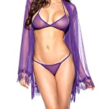 DotVol Women Lingerie Chiffon Lace Kimono Robe Bra and Panty Sleepwear Lingerie Set(Size Free, Purple)