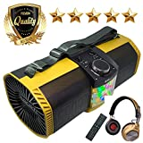 EMB Bluetooth Boombox Street Disco Stereo Speaker - 3600mAH Rechargeable Battery Portable Wireless 300 Watts Power FM Radio/MP3 Player w/Remote and Disco Lights w/EMB Headphone (Yellow)