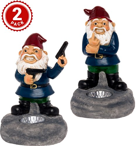 GreenLighting 2 Pack Solar Second Amendment and Middle Finger Lawn Gnomes - Light Up Garden Statues