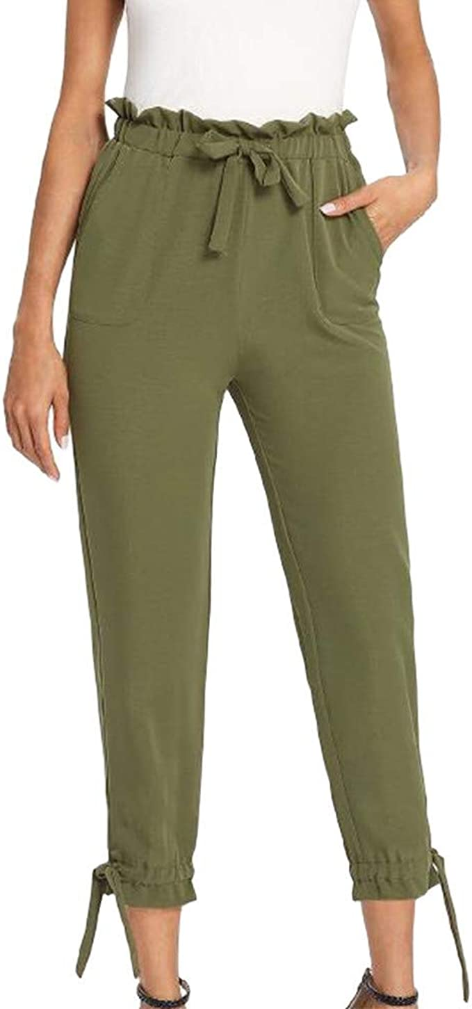 RISTHY Mujer Flacas Harem Pantalones Sólido Corbata Cintura Alta ...