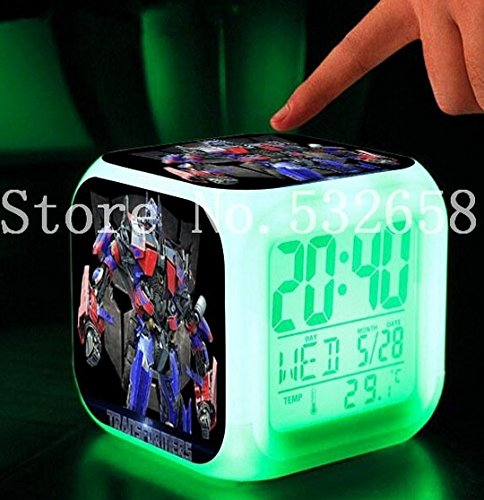 Bumblebee Optimus Prime Megatron Transformation Alarm Clock Digital Action Toy Figures Thermometer Night Colorful Glowing Toys (Style 2)