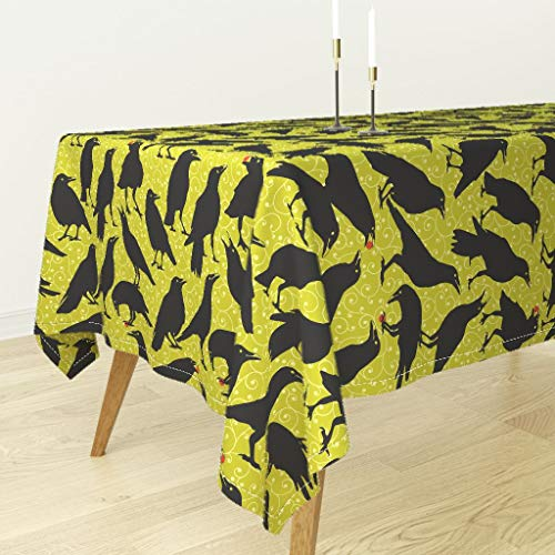 Roostery Tablecloth - Sept2016catsvsravens Halloween Scary Birds Black Bird Black and Green Crows by Mariafaithgarcia - Cotton Sateen Tablecloth 70 x 70 ()