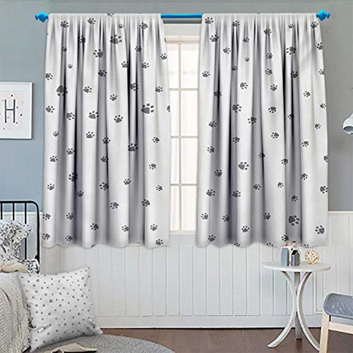 (Chaneyhouse Dog Lover Window Curtain Drape Foot Prints of an Animal Pet Canine Marks Abstract Nature Themed Illustration Decorative Curtains for Living Room 55