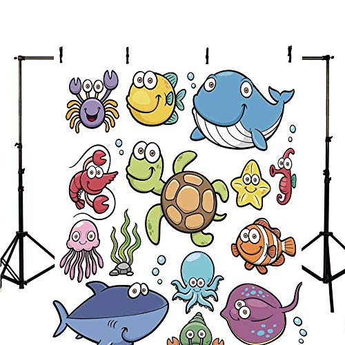 - Whale Stylish Backdrop,Ocean Animals Collection Cheerful Swimming Clown Fish and Puffer Fish Shrimp Artwork for Photography,70.8