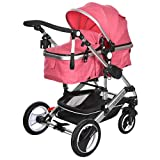 Belecoo Baby Stroller for Newborn and Toddler - Convertible Bassinet Stroller Compact Single Baby Carriage Toddler Seat Stroller Luxury Stroller with Cup Holder (Linen Rose)