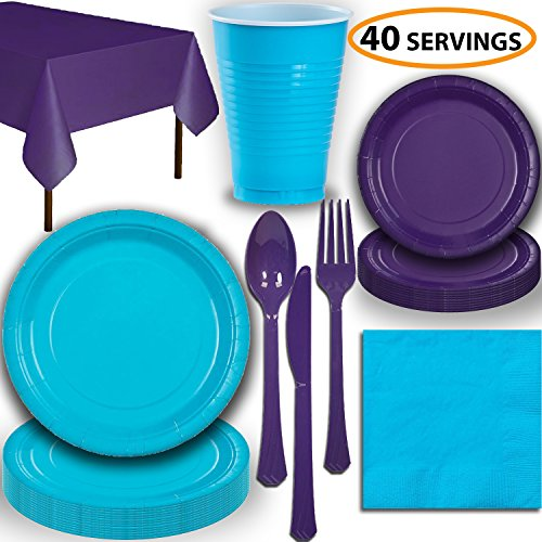 Disposable Party Supplies, Serves 40 - Turquoise and Purple - Large and Small Paper Plates, 12 oz Plastic Cups, Heavyweight Cutlery, Napkins, and Tablecloths. Full Two-Tone Tableware Set