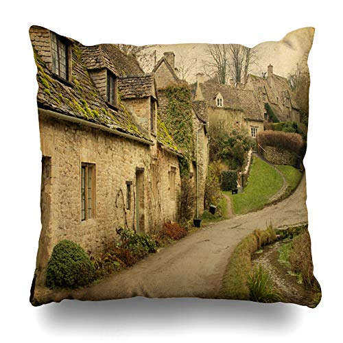Ahawoso Throw Pillow Cover Slate Brown Village Bibury Cotswold Cottages England Countryside UK Vintage British English Garden Home Decor Pillow Case Square Size 20x20 Inches Zippered Pillowcase (Vintage Country Decor Cottage)