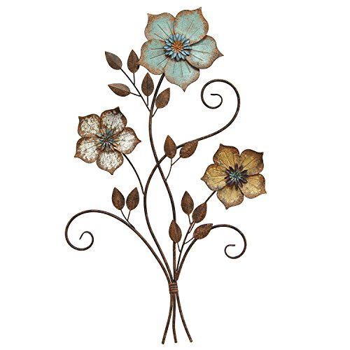 Stratton Home Decor S02369 Tricolor Flower Wall Decor, 19.25 W x 1.50 D x 30.00 H, Multi (Metal Wall Flowers For)