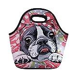 Sannovo Bulldogs Kids Insulated Lunch Bag Tote for Women Animal Gourmet Handbag