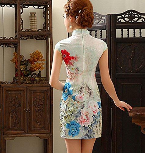 YueLian Damen Sommer QiPao Kurze Kleid Etuikleid Partykleid mit Muster Cheongsam