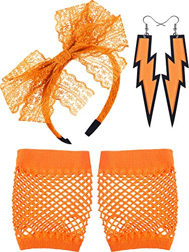 Blulu 80's Lace Headband Neon Earrings Fingerless Fishnet Gloves for 80's Party (Orange) ()
