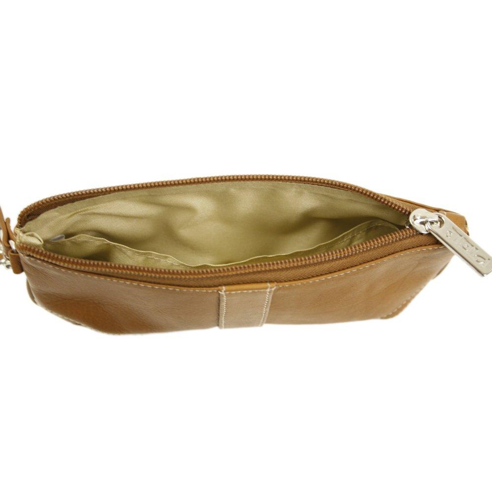 Piel Leather Large Ladies Wristlet, Saddle, One Size 2768