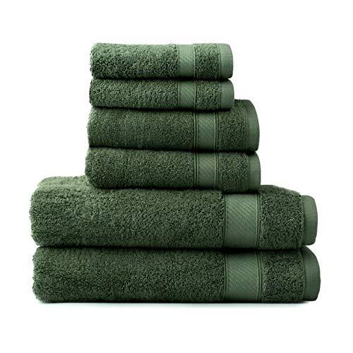 Wamsutta 6-Piece Hygro Duet Bath Towel Set Includes Washcloths,Hand Towels Bath Towels (SAGE)