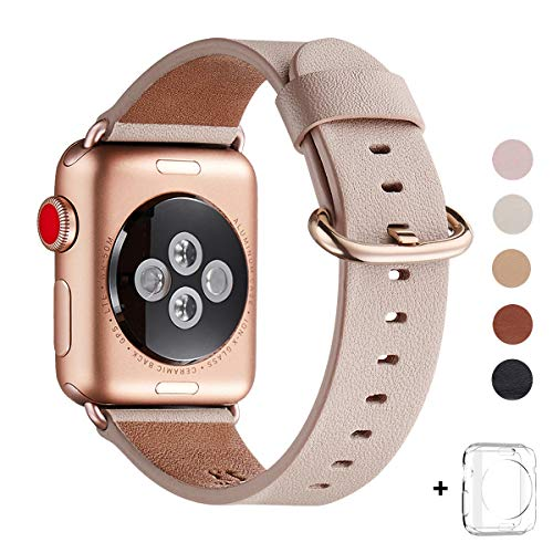 WFEAGL Compatible iWatch Band 38mm 40mm, Top Grain Leather Band with Gold Adapter (The Same as Series 4/3 with Gold Aluminum Case in Color) for iWatch Series 4/3/2/1(Pink Sand Band+Gold Buckle)