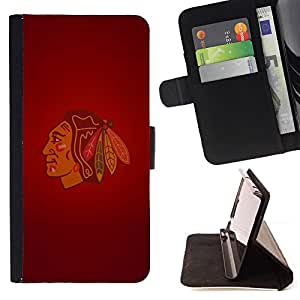 For HTC One Mini 2/ M8 MINI Chicago Blackhawk Indian Ice Hockey Style PU Leather Case Wallet Flip Stand Flap Closure Cover