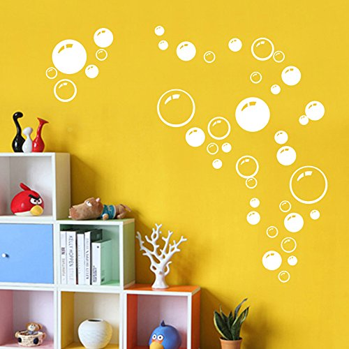 MLM Circle hubble-bubble Lovely Beautiful Waterproof Removable Vinyl Wall Stickers Wallpaper Decals Home Decor (White) (Bubble Decals)