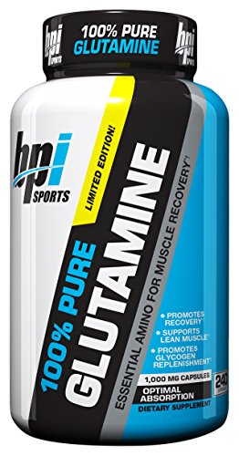 BPI Sports Glutamine Essential Amino Acid for Muscle Recovery, Supports Lean Muscle and Promotes Glycogen Replenishment, 240 Count