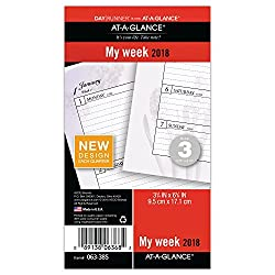 """At-a-glance Day Runner Weekly Planner Refill, January 2018 - December 2018, 3-34"""" X 6-34"""", Loose Leaf, Size 3, Nature (063-385)"""
