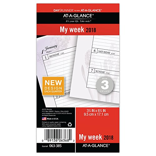 "AT-A-GLANCE Day Runner Weekly Planner Refill, January 2018 - December 2018, 3-3/4"" x 6-3/4"", Loose Leaf, Size 3, Nature (063-385)"