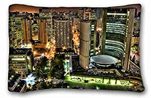 """Custom City Pillowcase Cover 20""""X30"""" One Side suitable for King-bed"""