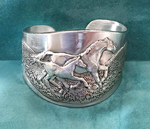 Horse Lady Gifts Horse Mare and Foal cuff bracelet in pewter