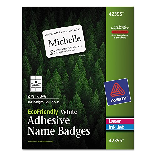 (Avery EcoFriendly Name Badge Labels for Laser and Ink Jet Printers, 2.33 x 3.375 Inches, White, Permanent, Pack of 160)