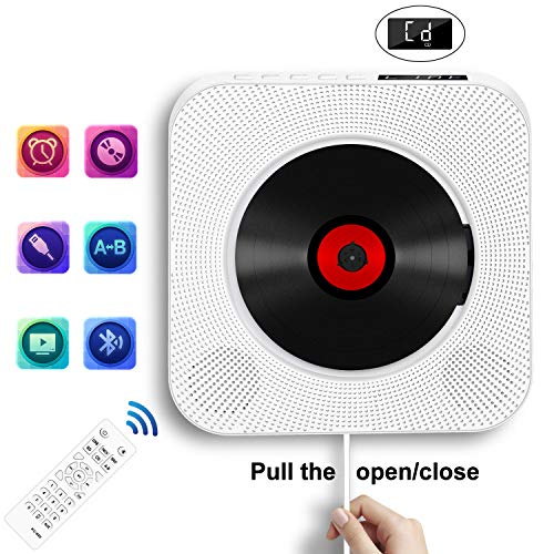 Portable CD Player with Bluetooth, Wall Mountable CD Music Player Home Audio Boombox with Remote Control FM Radio Built-in HiFi Speakers, MP3 Headphone Jack AUX Input Output, White (Best Cd Player For Home)