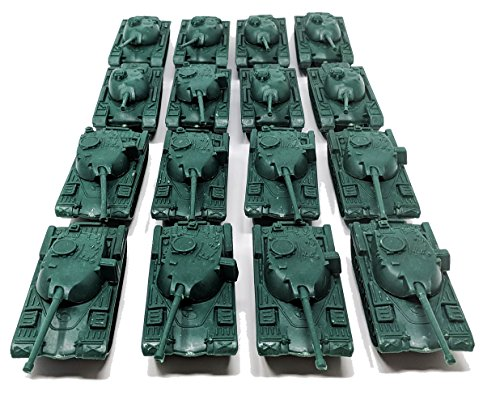 16 Pc Green Army Battle Tanks Play Set