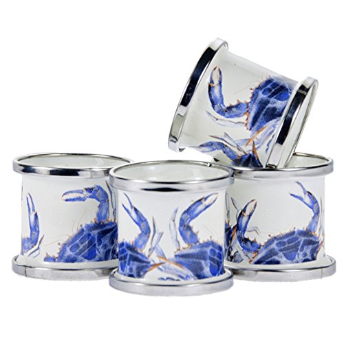 Enamelware - Blue Crab Pattern - Set of 4 Napkin Rings