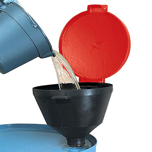 """New Pig Burpless Poly Drum Funnel, For 30 and 55 Gal Steel & Poly Drums w/ 2"""" NPT, Hinged Lid, 13.375"""" Diam x 11"""" H, Red, DRM680-RD by New Pig Corporation (Image #1)"""