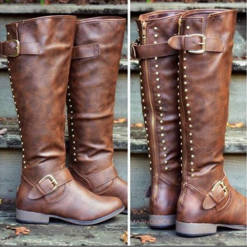 Color Otoño Remache Del Shoes Soporte Europeo Altas Caqui Sólido Señoras Botas De Las Plano pXnpqSPR