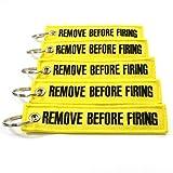 Rotary13B1 Remove Before Firing Keychain - 5 Pack Yellow/Black