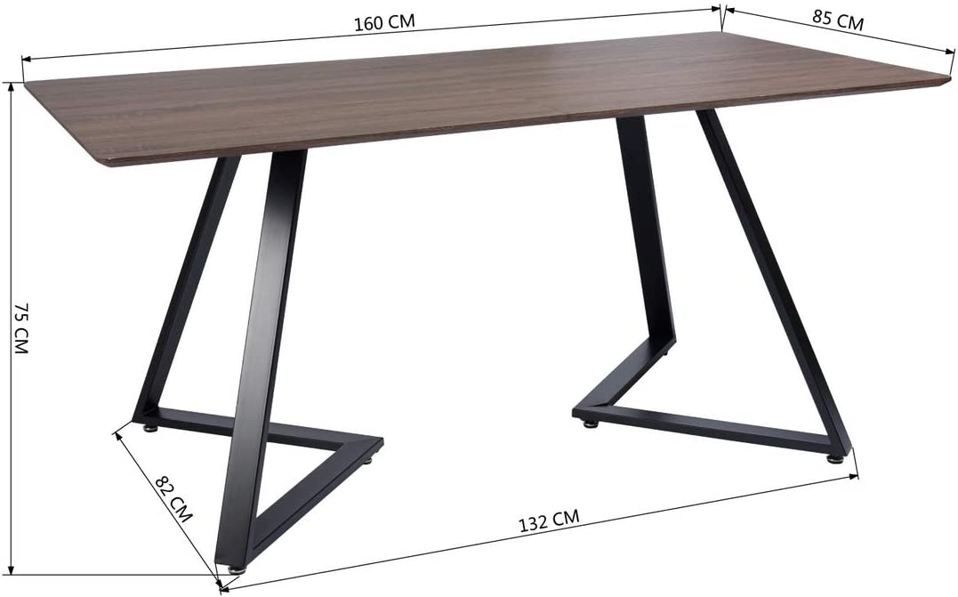 Navy Blue 4 6 People Use Rectangular Dining Room Table Walnut Brown Color Wooden Top With Black Metal Frame Kitchen Table Size 158 85 75cm Amazon Co Uk Kitchen Home