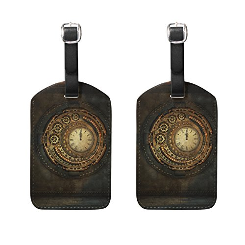 AHOMY 2 Pack Luggage Tags Vintage Steampunk Suitcase Labels ID Tags Business Card Holder