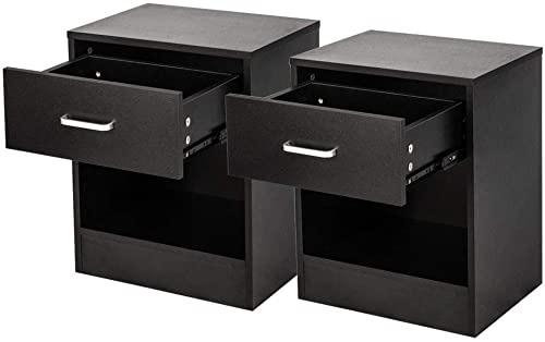 Bedroom Bedside Furniture Nightstand Set of 2 End Table Shelf Drawer Black