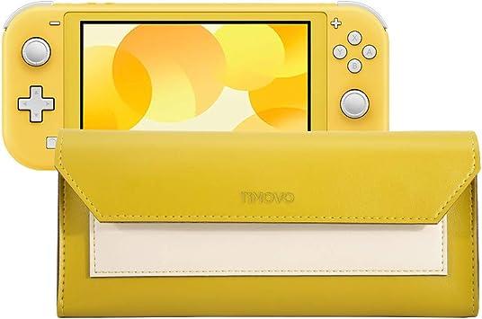 TiMOVO Funda Compatible con Nintendo Switch Lite, Estuche Protector de Cuero PU, Estuche Portátil de Viaje con Cierre Magnético y Bolsa para Cartuchos de Juego y Nintendo Switch Lite - Beige Amarillo: