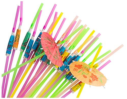 (Blue Panda Disposable Tropical Hawaiian Luau Party Umbrella Cocktail Drink Straws, Assorted, 150)