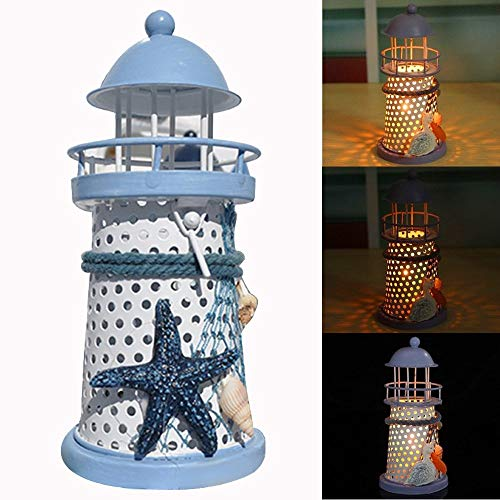Elevin(TM)  Mediterranean Lighthouse Iron Candle Candlestick Blue White Home Table Decor New