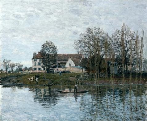 Oil Painting 'Alfred Sisley - The Seine At Port-Marly,1875' Printing On High Quality Polyster Canvas , 30x36 Inch / 76x93 Cm ,the Best Basement Artwork And Home Gallery Art And Gifts Is This Vivid Art Decorative Prints On Canvas