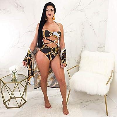 ZMJY Women's High Waisted Bikinis Set,Ladies Thong Bikini Swimsuit Sexy Halter Light Triangle Bathing Beachwear,Blooming Jelly