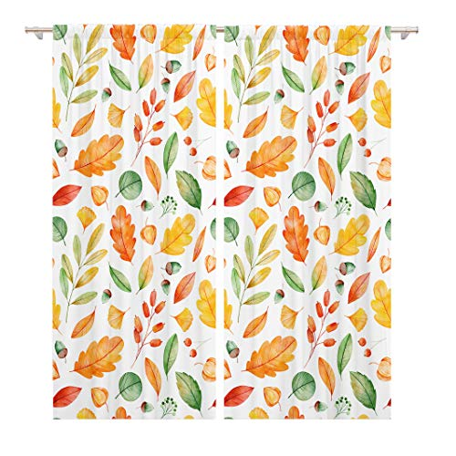 Tinmun 104 x 84 Inch Decorative Drapes High Watercolor Autumn Leaves My Lovely Collection Your Project 2 Panels Window Curtains for Living Room Bedroom Printed